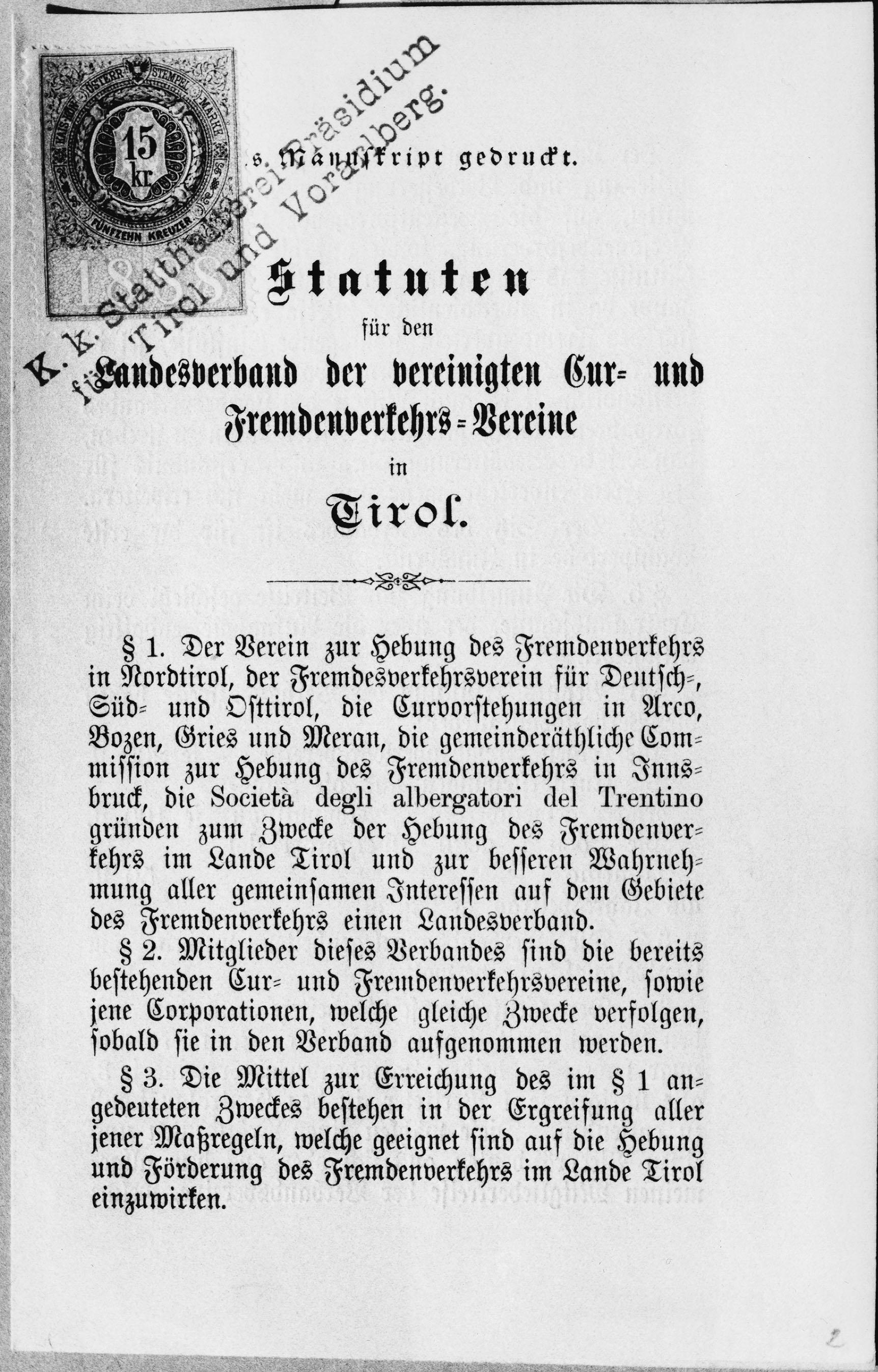 """Statuten """"Landesverband der vereinigten Kur- und Fremdenverkehrsbetriebe in Tirol"""""""