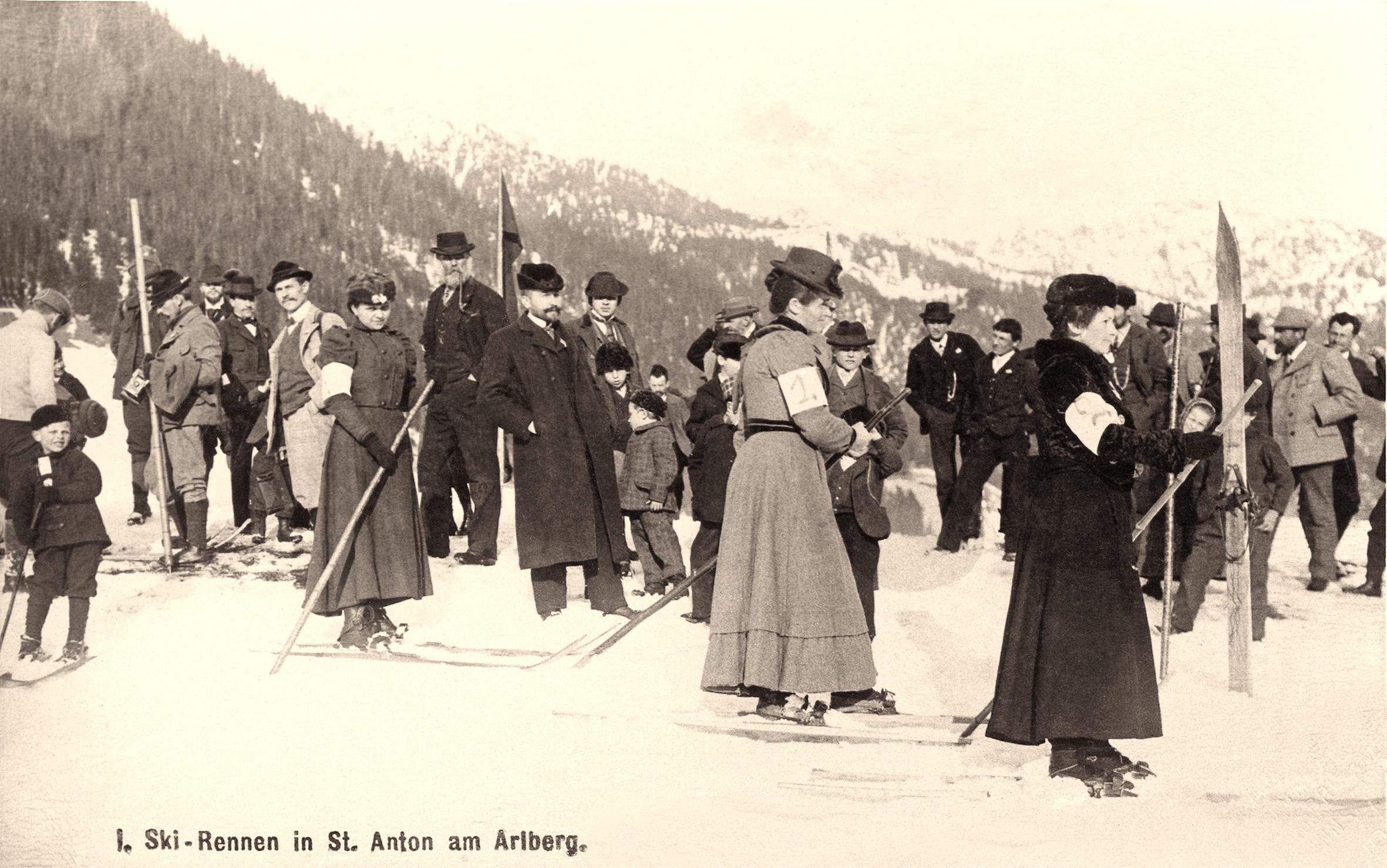 Altes Foto von einem Damenskirennen