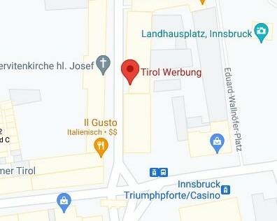 Lage der Tirol Werbung in Google Maps